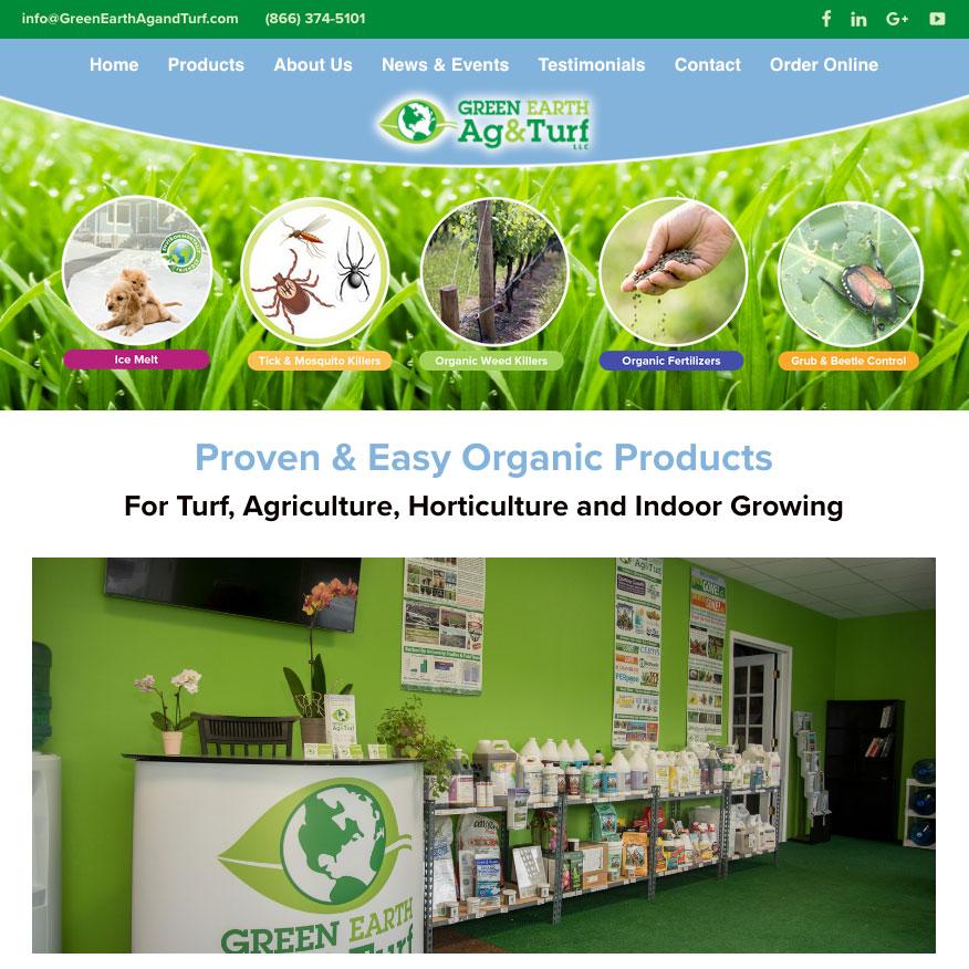 green Earth Ag & Turf Custom website by halagandesign.com